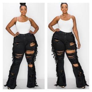 ➕ Side Fringe Flare Jeans